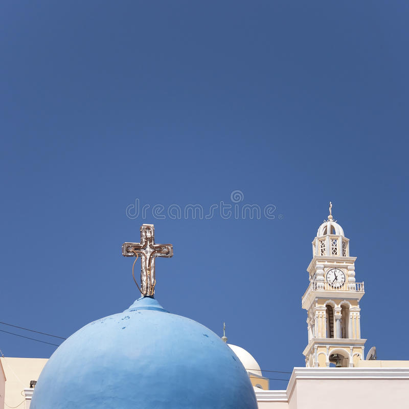 Igreja Do Fira De Santorini Fotografia de Stock Royalty Free