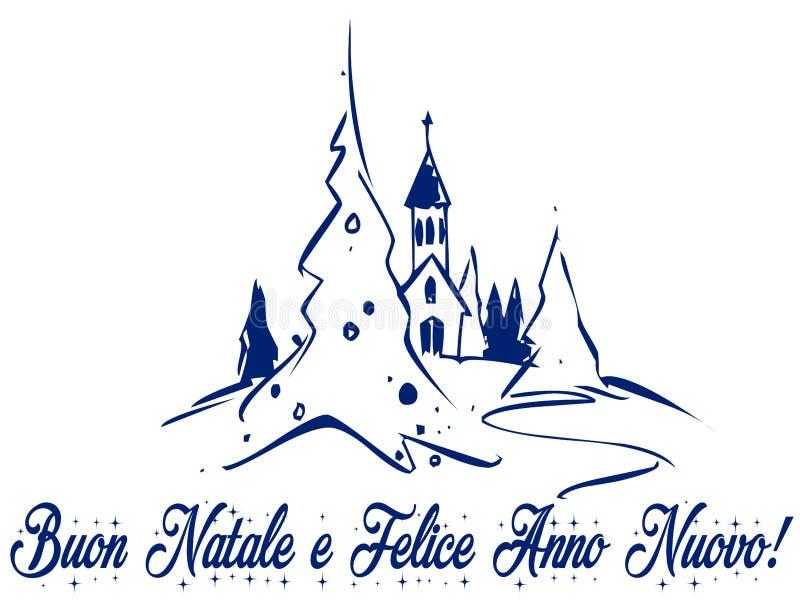 Igreja do Natal na montanha, no amor e na paz com presentes imagens de stock