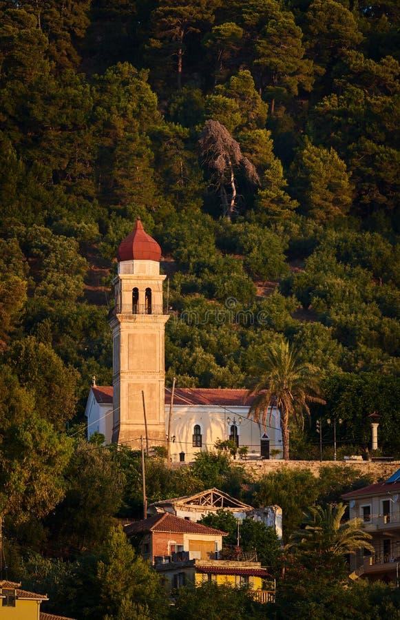 Igreja do pikridiotisa de Panagia abaixo do castelo venetian do bohali fotografia de stock royalty free