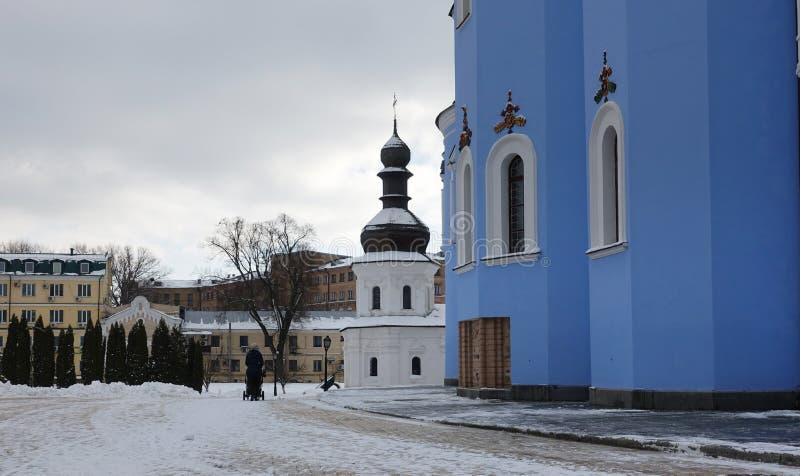 Igreja do refeitório de Kiev de St John o evangelista do monastério Dourado-abobadado fotografia de stock