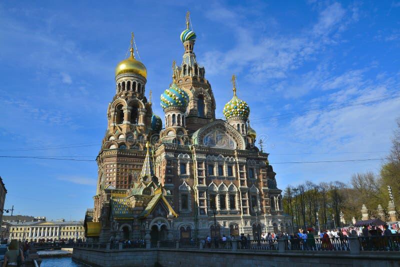 Igreja do salvador no sangue derramado, Moscou fotografia de stock