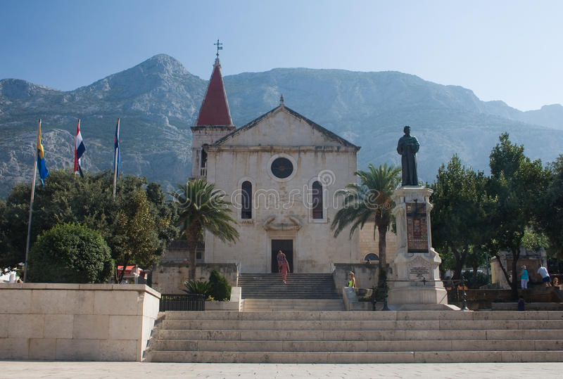 Igreja do Sts. Marca. Makarska. Croatia fotos de stock