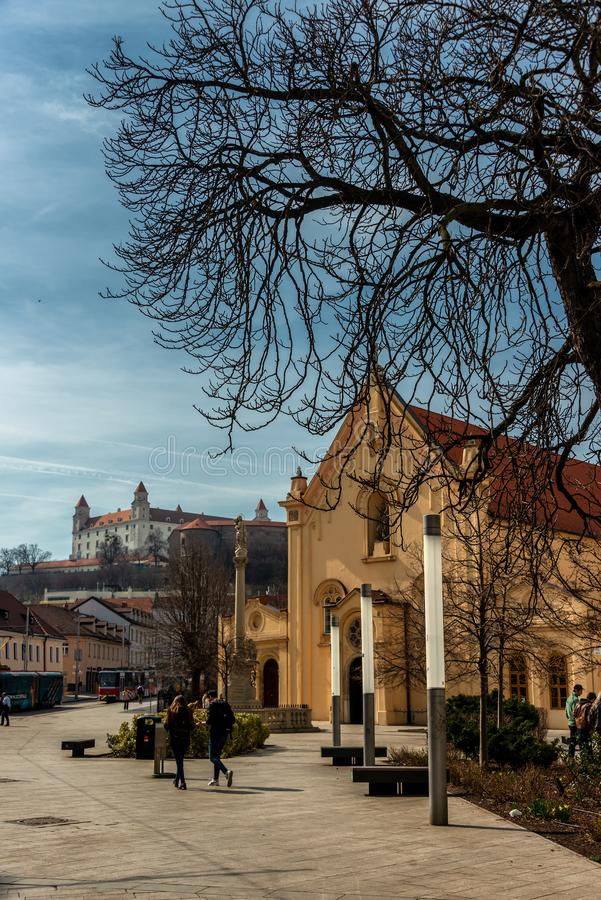 Igreja dos Capuchins de St Stephen em Bratislava fotografia de stock