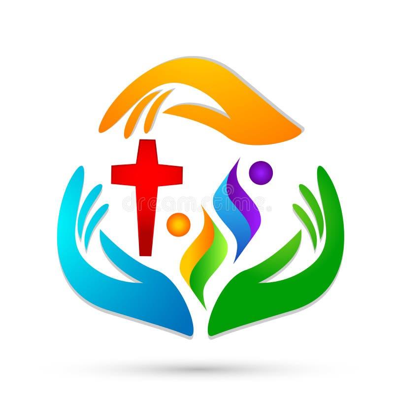 Igreja dos povos, mãos do cuidado que ciao povos para salvar para proteger o vetor do elemento do ícone do logotipo do cuidado da ilustração do vetor