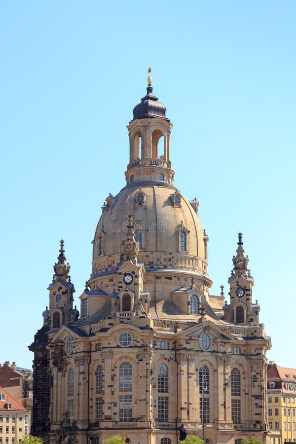 Igreja Dresden Frauenkirche em Neumarkt foto de stock