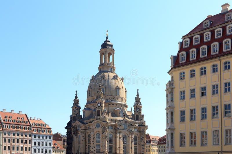 Igreja Dresden Frauenkirche em Neumarkt fotos de stock royalty free