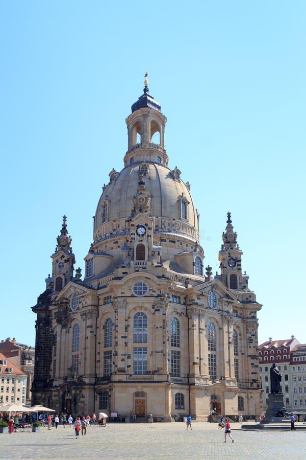 Igreja Dresden Frauenkirche em Neumarkt fotos de stock