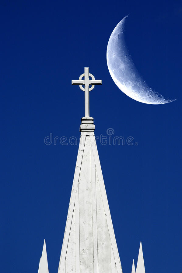 Igreja e lua fotos de stock royalty free