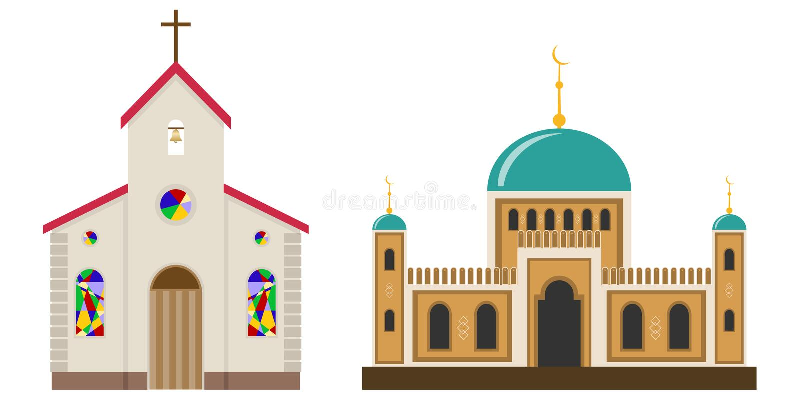 Igreja e mesquita ilustração stock