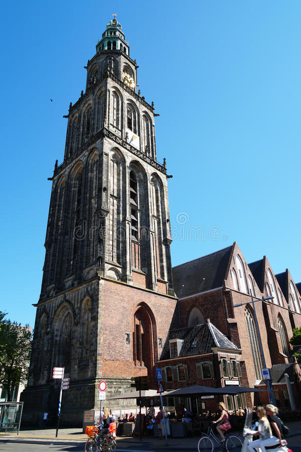 Igreja e torre de Martini em Groningen Países Baixos fotos de stock royalty free