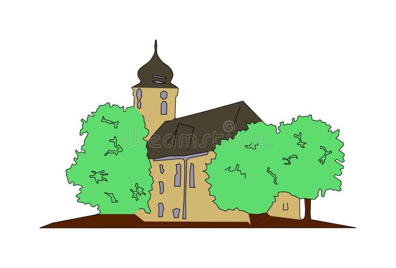 Igreja em Alemanha do sul como gráficos de vetor imagem de stock