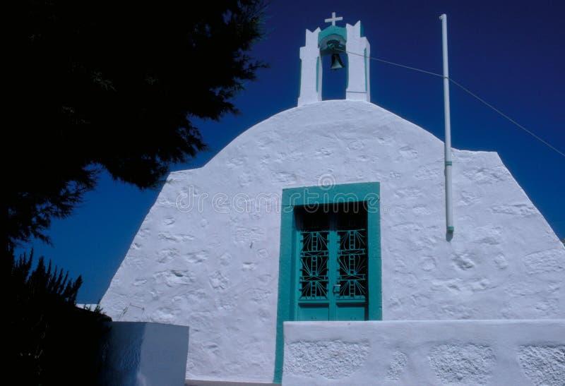 Igreja em Patmos imagens de stock