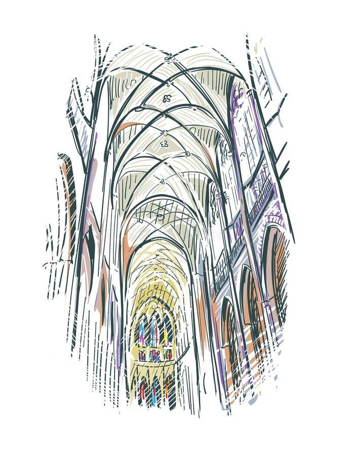 Igreja europeia da opini?o da ilustra??o do esbo?o interna ilustração royalty free