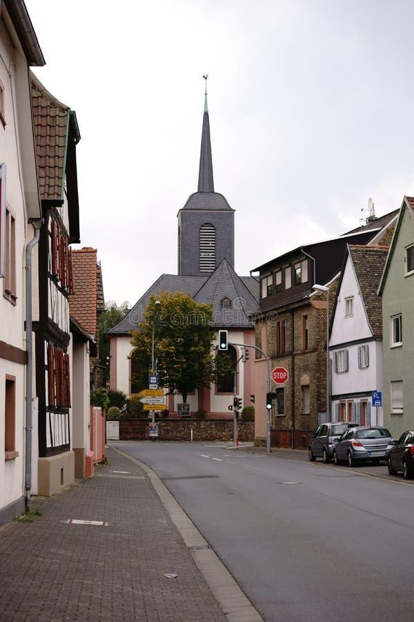 Igreja evangélica Bischofsheim fotografia de stock