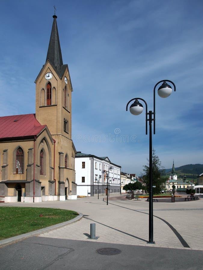 A igreja evangélica em Dolny Kubin no verão fotografia de stock royalty free