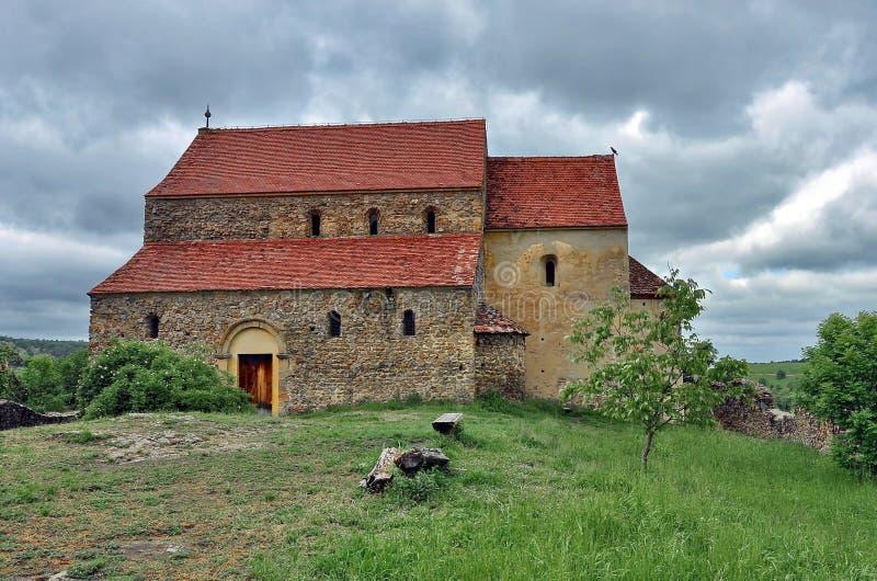 Igreja fortificada em Cisnadioara imagens de stock