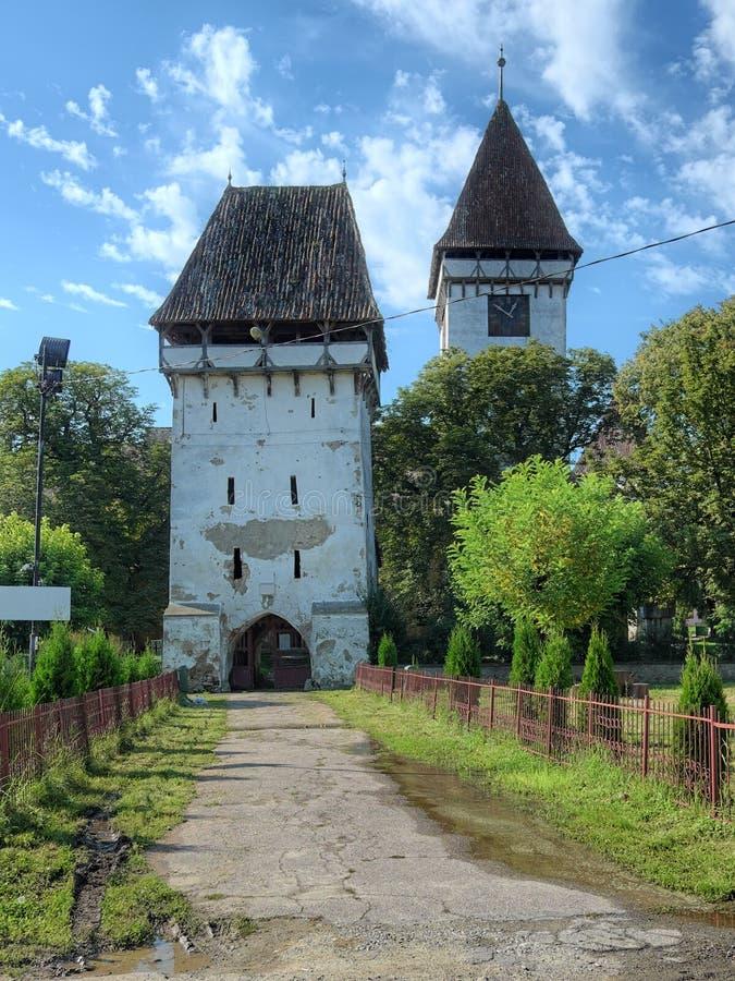 Igreja fortificada evangélica de Agnita, Romênia imagem de stock