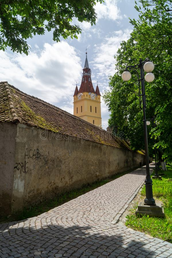 Igreja fortificada evangélica de Cristian, Brasov, Romênia foto de stock royalty free