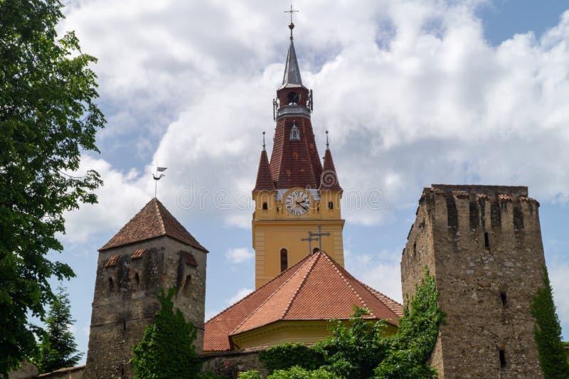 Igreja fortificada evangélica de Cristian, Brasov, Romênia imagem de stock royalty free