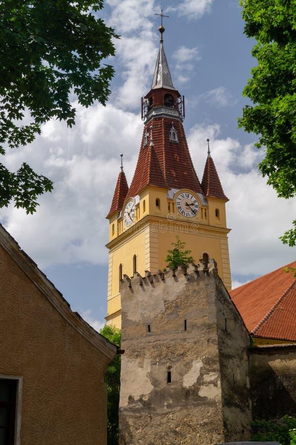 Igreja fortificada evangélica de Cristian, Brasov, Romênia fotos de stock royalty free