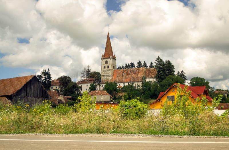 Igreja fortificada Evangelical, Cincu, a Transilvânia imagens de stock