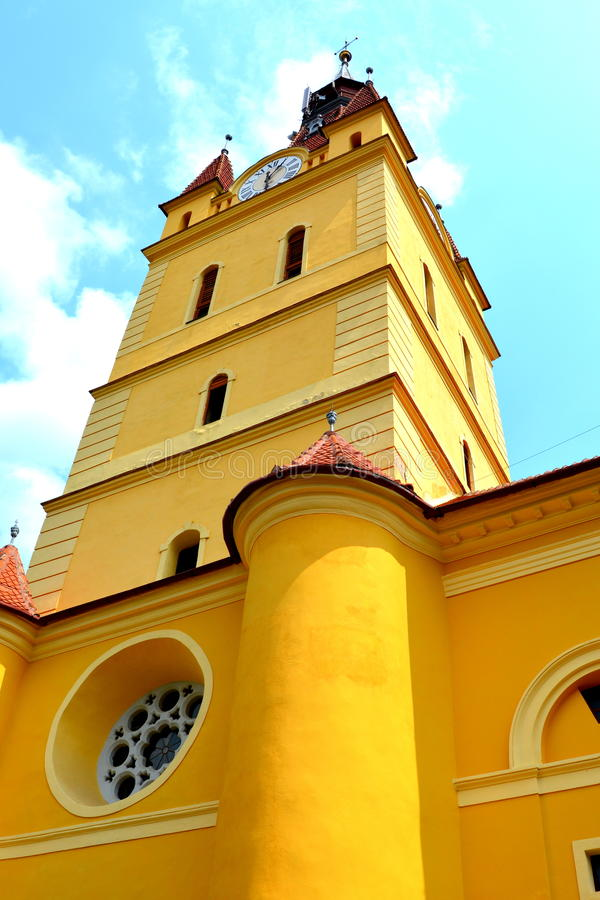 Igreja fortificada medieval em Cristian, a Transilvânia imagem de stock