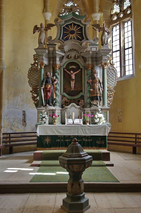 Igreja fortificada para dentro imagens de stock
