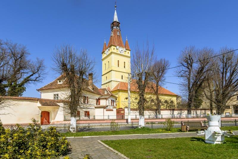Igreja fortificada velha em Cristian, Brasov, Romênia fotos de stock