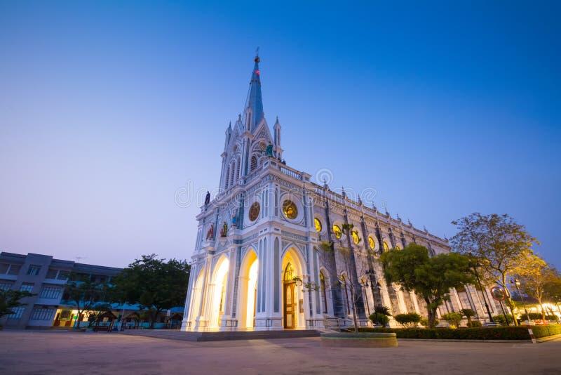 Igreja gótico no tempo crepuscular, Tailândia foto de stock royalty free