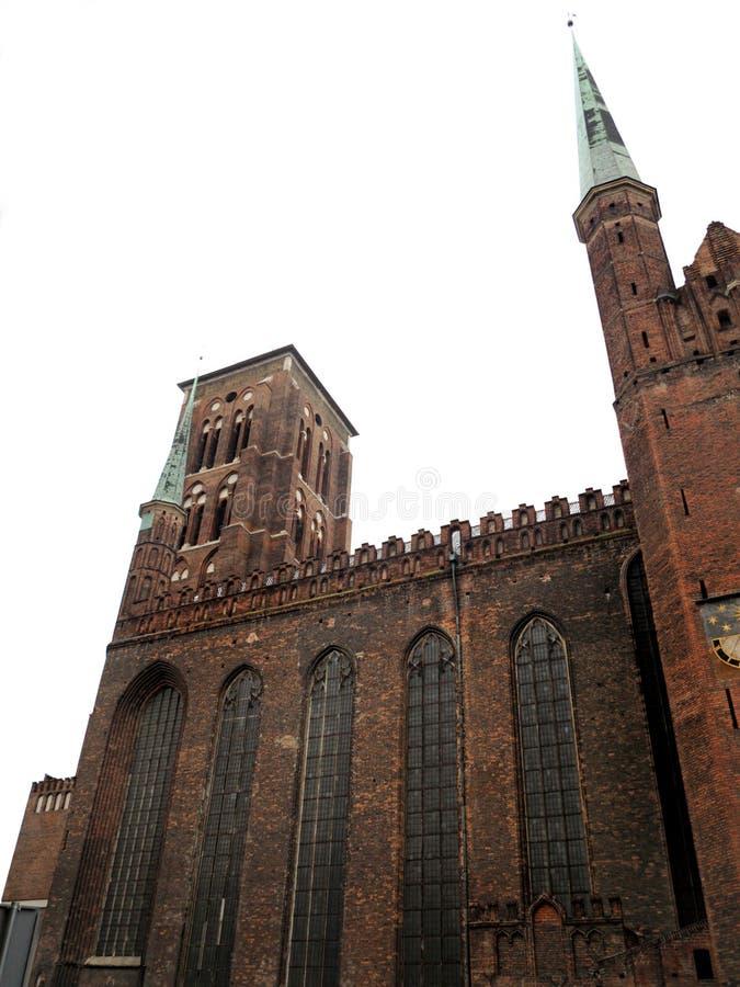 Igreja Gdansk do tijolo da basílica de St Mary, Polônia fotos de stock