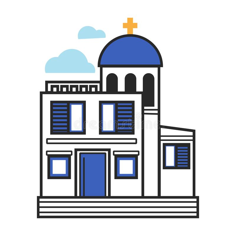 Igreja grega nas cores brancas e azuis com cruz do ouro ilustração do vetor