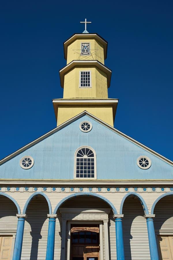 Igreja histórica de Conchi na ilha de Chiloé fotografia de stock