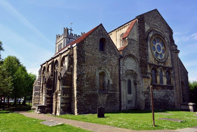 Igreja histórica velha da abadia de Waltham, Inglaterra, Reino Unido fotos de stock