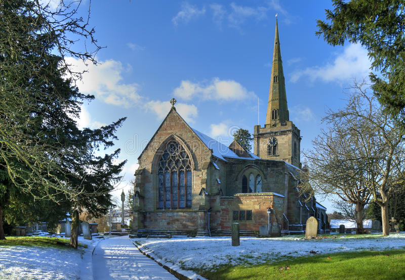 Igreja inglesa no inverno imagens de stock royalty free
