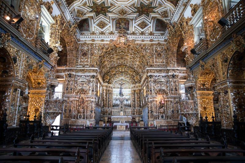 Igreja interior e Convento de São Francisco en Bahía, Salvador - el Brasil fotografía de archivo libre de regalías