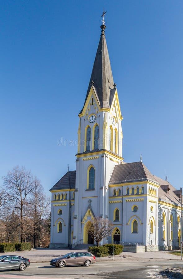 Igreja luterana em Trinec, República Checa fotos de stock