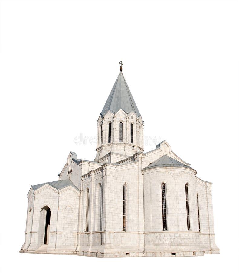Igreja medieval isolada no branco imagens de stock