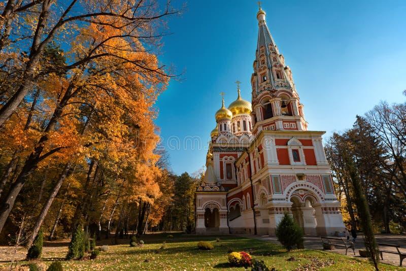 Igreja memorável de Shipka, Bulgária fotos de stock royalty free