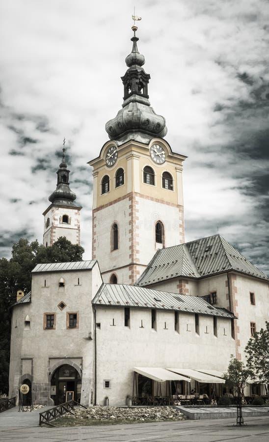 Igreja na cidade Banska Bystrica, Eslováquia fotografia de stock royalty free