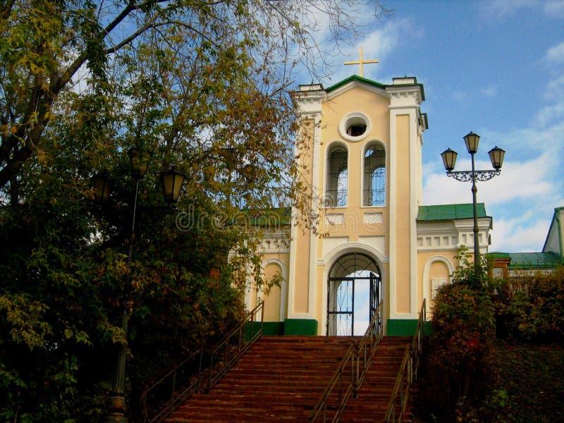 A igreja na cidade Siberian de Tomsk imagem de stock