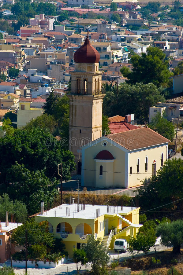 Igreja na cidade Zakynthos. foto de stock royalty free