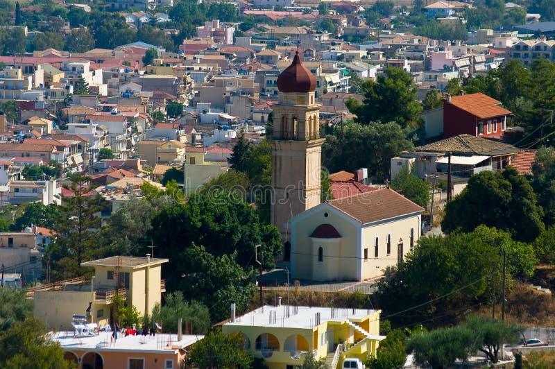 Igreja na cidade Zakynthos. imagens de stock royalty free
