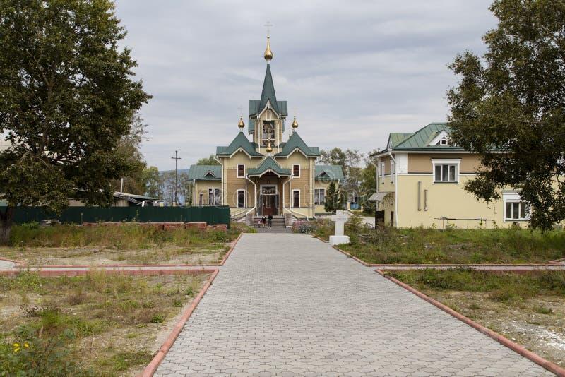 A igreja na estação de trem do sludyanka, Federação Russa imagem de stock royalty free