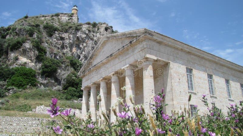 A igreja na fortaleza velha, Corfu de St George fotografia de stock