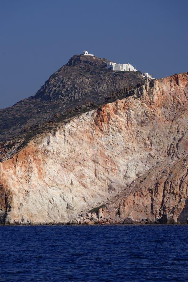 Igreja na ilha dos Milos foto de stock
