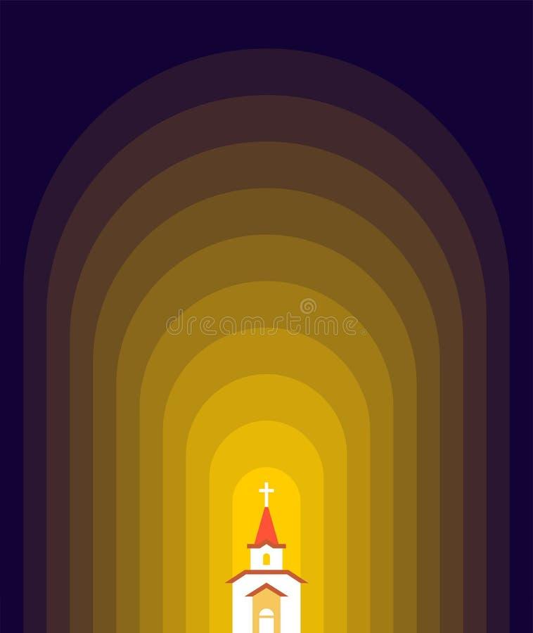 Igreja na religião cristã católica escura da casa Vetor Illust ilustração stock
