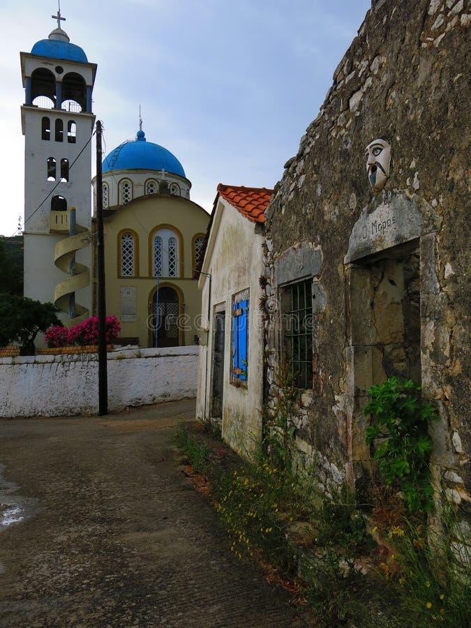 Igreja na vila de Exoghi, ilha de Ithaca, Grécia foto de stock