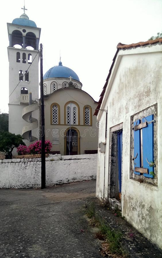 Igreja na vila de Exoghi, Ithaca, Grécia fotos de stock
