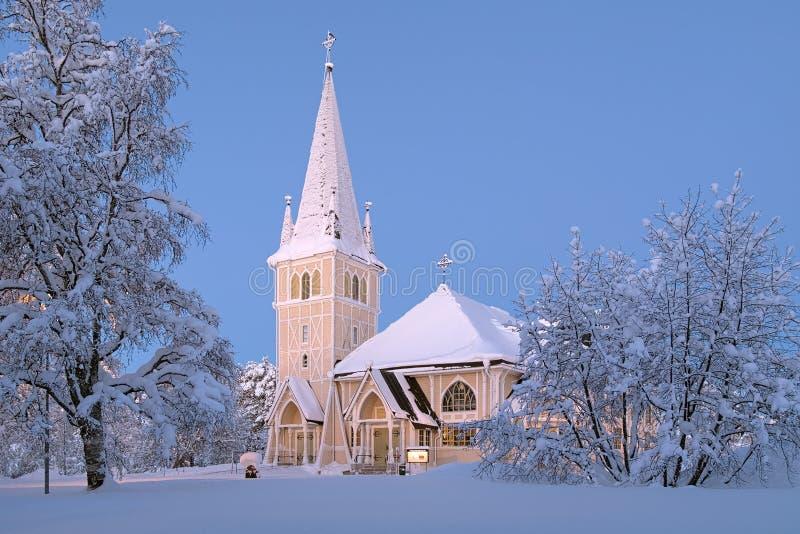 Igreja no inverno, Sweden de Arvidsjaur fotografia de stock royalty free