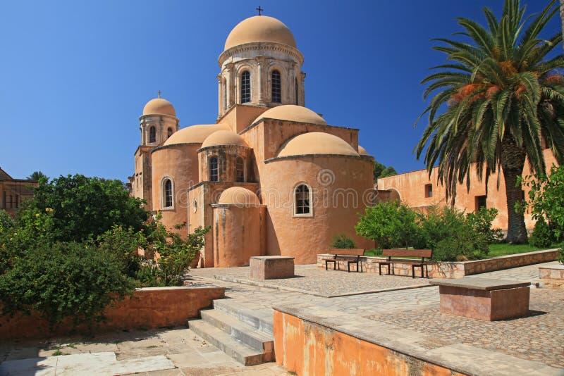 A igreja no monastério de Agia Triada (Crete, Greece fotos de stock royalty free